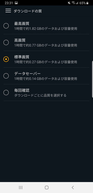 Amazonプライム・ビデオ ダウンロードの質